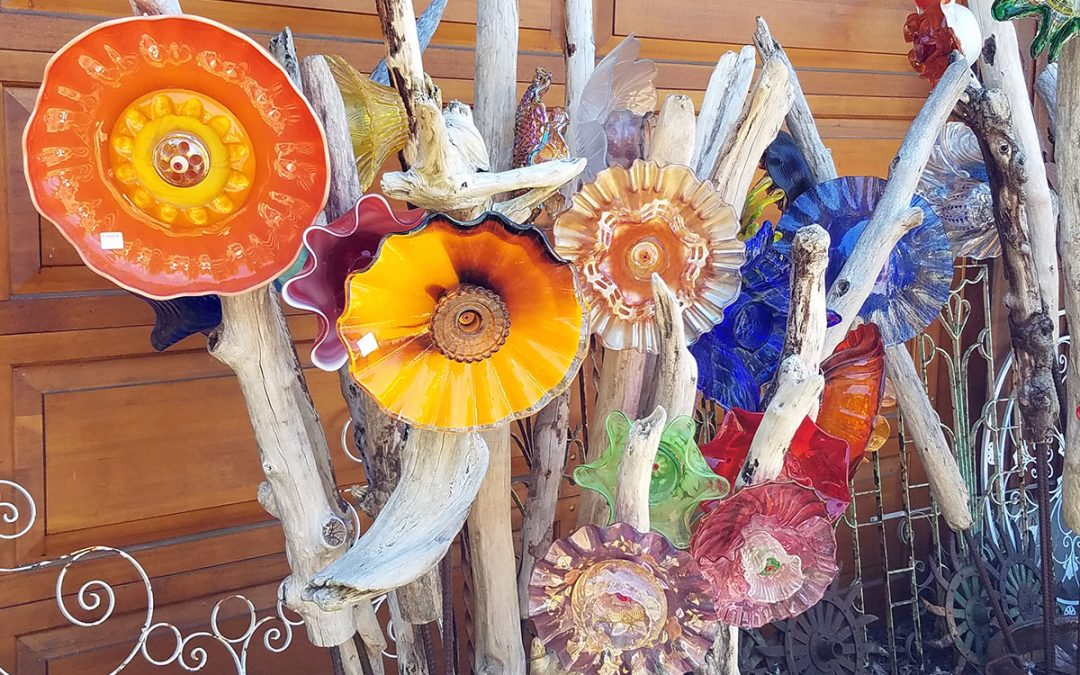 Glass and driftwood flowers